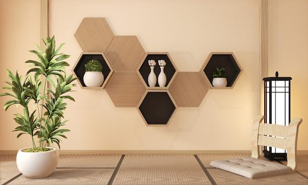 Drewniana sześciokąt półka i drewniane sześciokąt płytki, dekoracja japoński styl, 3d rendering