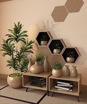 Drewniana sześciokąt półka, płytki na ściennej i drewnianej gabinecie i drewniana wazowa dekoracja na tatami maty podłoga, 3d rendering
