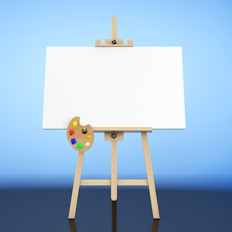 Drewniana sztaluga artysty z białym płótnem makiety i paletą na niebieskim tle. renderowanie 3d.