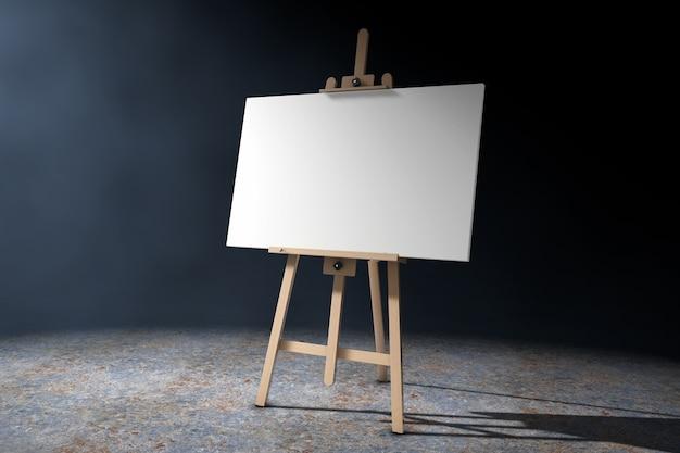 Drewniana sztaluga artysty z białym płótnem makiety w wolumetrycznym świetle na czarnym tle. renderowanie 3d.