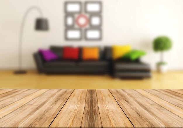 Drewniana tablica pusty stół niewyraźne tło salon