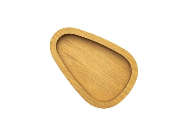 Drewniana taca okrągła miska na białym tle makieta