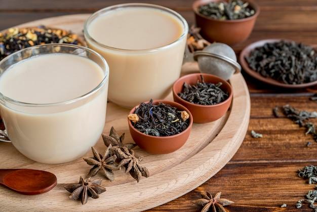 Drewniana taca z herbatą z mlekiem