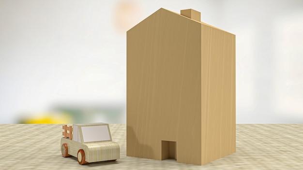 Drewniana zabawka do domu i samochodu do renderowania 3d na nieruchomości lub nieruchomości