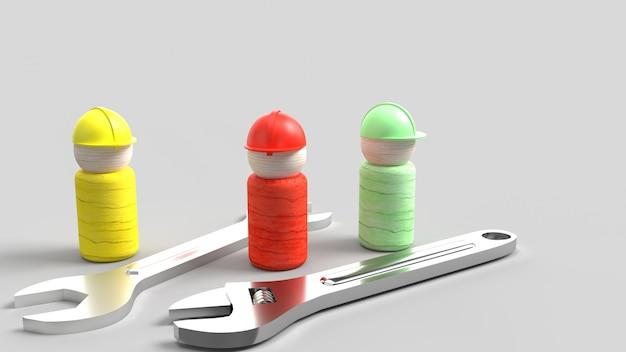 Drewniana zabawka i klucz na niebieskim renderingu 3d dla zawartości dzień pracy