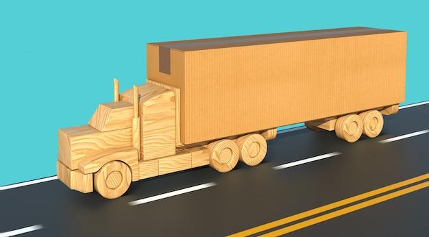 Drewniana zabawkowa ciężarówka z dużym kartonowym pudełkiem szybko porusza się po drodze.