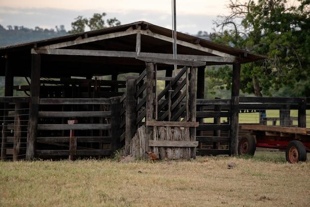 Drewniana zagroda do obsługi inwentarza żywego na farmie