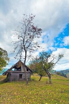 Drewniana zgniła stodoła na jesiennym zboczu góry (karpaty. ukraina)