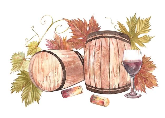 Drewniane beczki i kieliszki wina i liście winogron