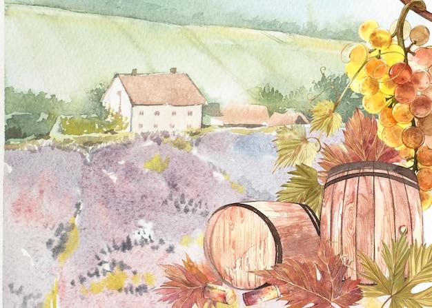 Drewniane beczki i liście winogron.