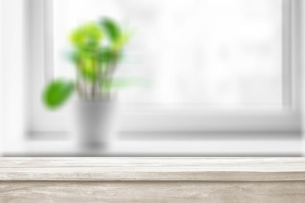 Drewniane białe tablice jako stół, widok z bliska