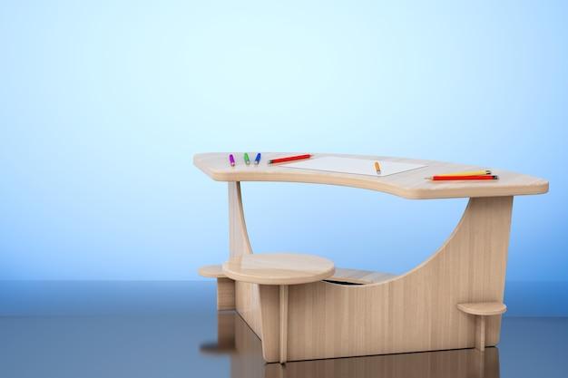 Drewniane biurko do nauki z ołówkami i papierem obrazkowym na podłodze. renderowanie 3d