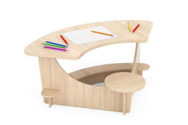Drewniane biurko studyjne dzieciaka z ołówkami i papierem obrazkowym na białym tle. renderowanie 3d
