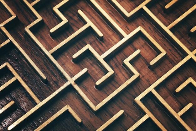 Drewniane brązowy labirynt puzzle labirynt z bliska