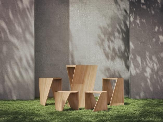 Drewniane cokoły do prezentacji produktów na trawiastym polu