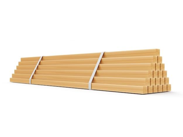 Drewniane deski konstrukcyjne na białym tle