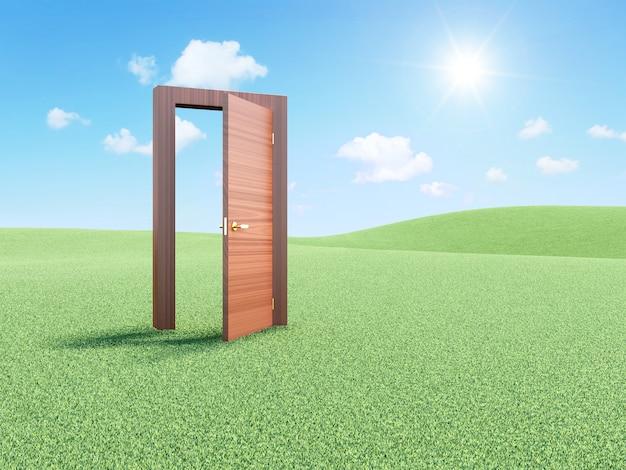 Drewniane drzwi na piękny krajobraz w świetle słonecznym