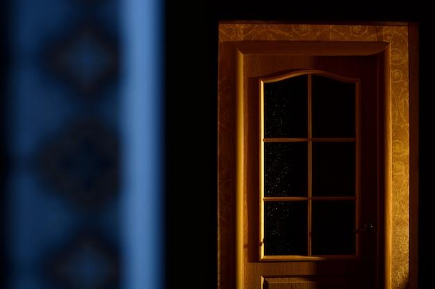 Drewniane drzwi w ciemnym mieszkaniu. przerażenie. minimalizm.