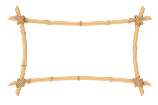 Drewniane kije bambusowe rama szablon na białym tle. renderowanie 3d