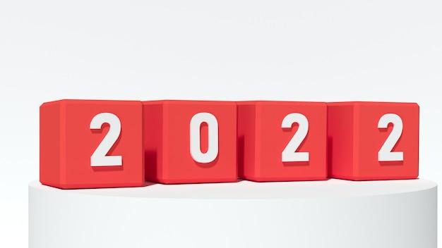 Drewniane klocki z numerem 2022. koncepcja nowego roku. skopiuj miejsce. renderowanie 3d