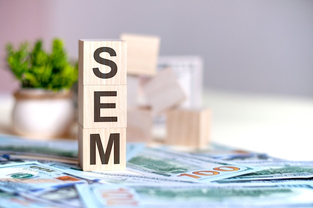 Drewniane kostki z literami sem ułożone w pionową piramidę na banknotach, zielona roślina w doniczce. sem - skrót od marketingu w wyszukiwarkach, koncepcja biznesowa.