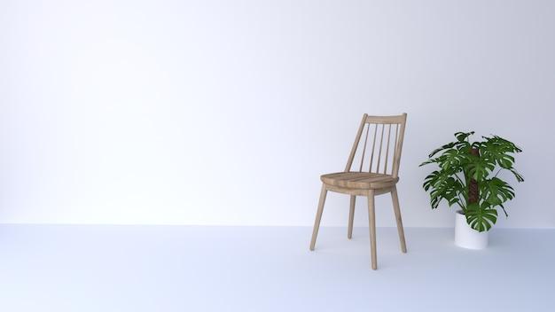 Drewniane krzesło na białym tle i zielonych drzewach