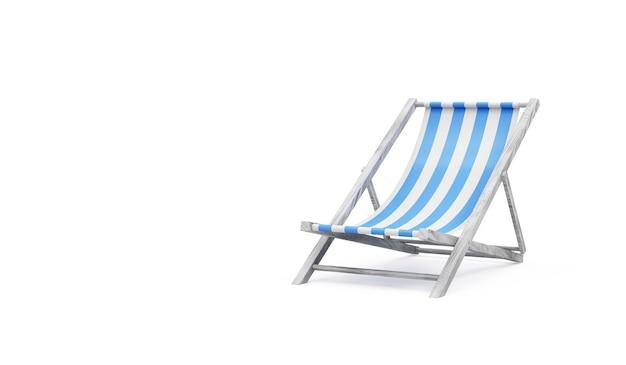 Drewniane krzesło plażowe na białym tle
