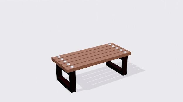 Drewniane krzesło z deski na białym tle na zewnątrz ławka w parku drewno tekowe 3d