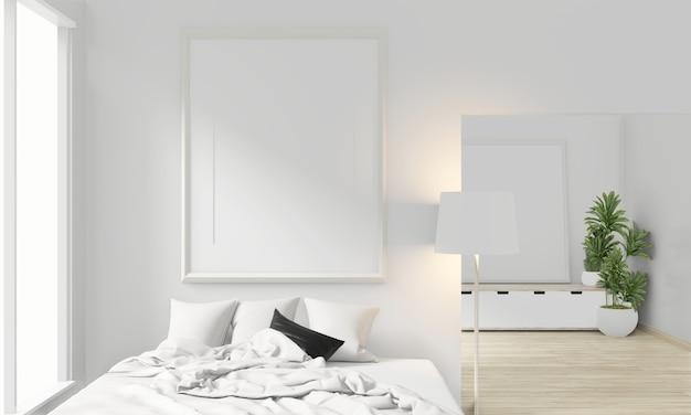 Drewniane łóżko, pusta ramka na zdjęcia i dekoracja w stylu japońskim w minimalistycznym stylu sypialni zen. renderowanie 3d.
