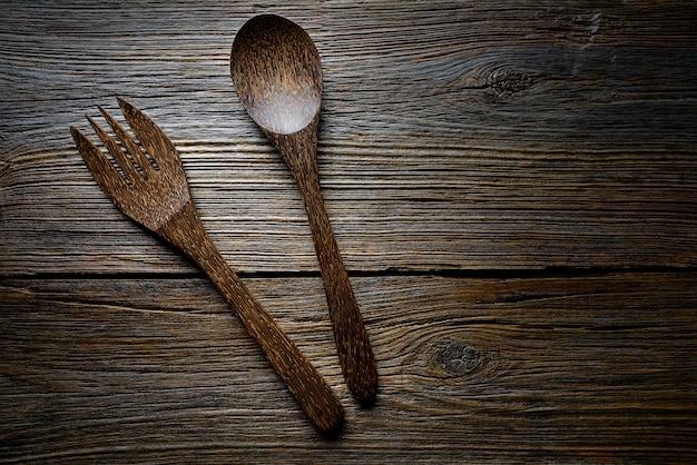 Drewniane narzędzia spatules łyżka i widelec