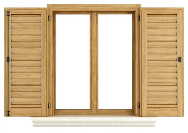Drewniane okno z otwartą żaluzją