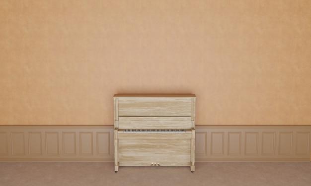 Drewniane pianino drewniane tło wszystko jest w całości renderowane w drewnie