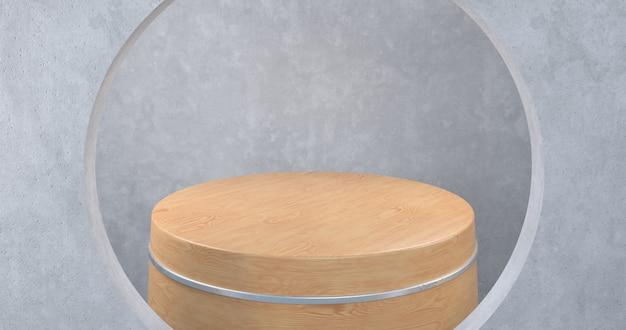 Drewniane podium do prezentacji produktu, renderowanie 3d,