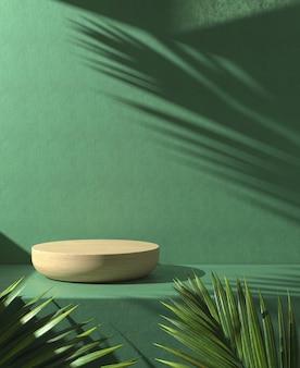 Drewniane podium na zielonym tle