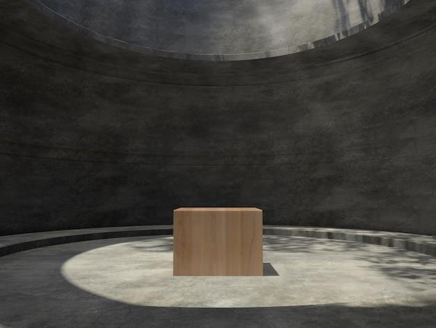 Drewniane postumenty w betonowym pomieszczeniu