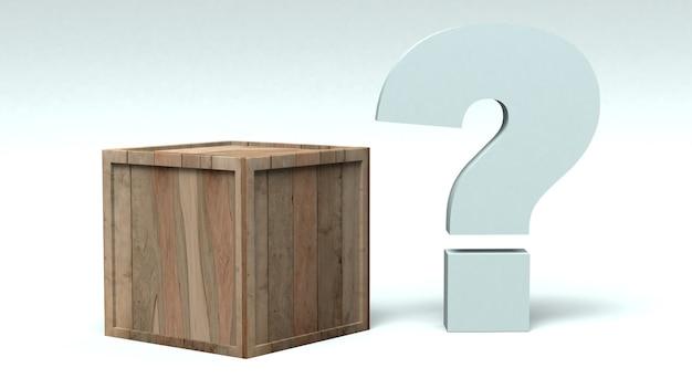 Drewniane pudełko, obok którego umieszczono znak zapytania. ilustracja 3d.