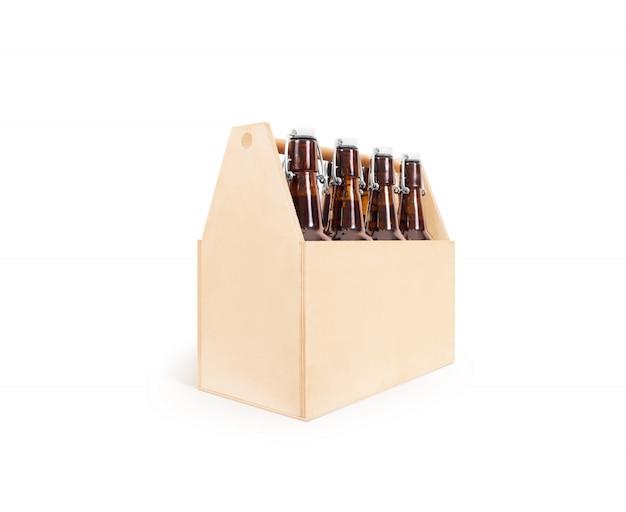 Drewniane pudełko po stronie piwa