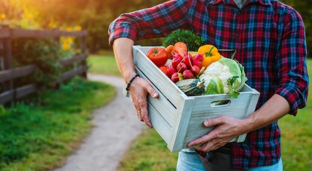Drewniane pudełko ze świeżymi warzywami rolnymi z bliska w rękach mężczyzny na zewnątrz.