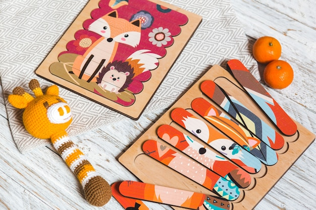 Drewniane puzzle edukacyjne dla dzieci