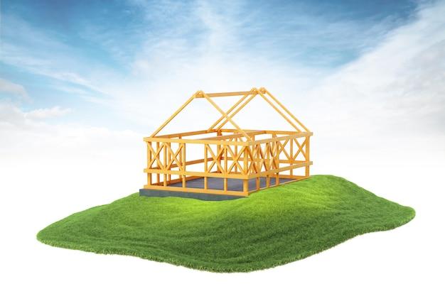 Drewniane ramy do budowy nowego domu unoszącego się w powietrzu na tle nieba