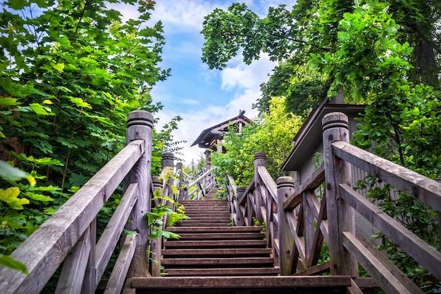 Drewniane schody na mount levitan w plyos wśród zieleni drzew