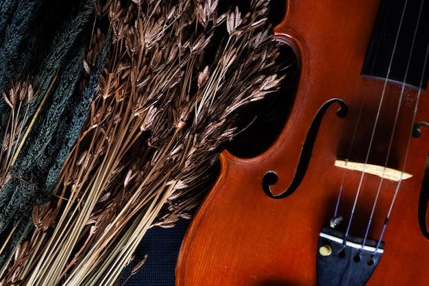 Drewniane skrzypce umieszczone obok suszonego kwiatu, na tle powierzchni grunge