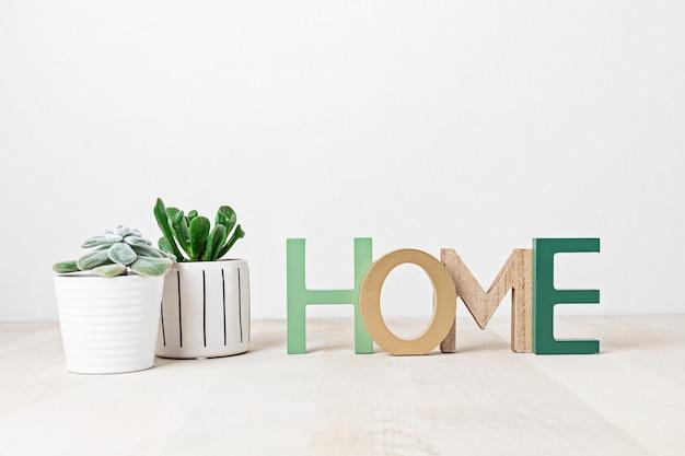 Drewniane słowo home, widok z przodu, z elementami wystroju, roślinami domowymi, kwiatami i pustym miejscem na kopię na białej ścianie.