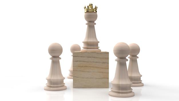 Drewniane szachy i złota korona na drewnianym sześcianie