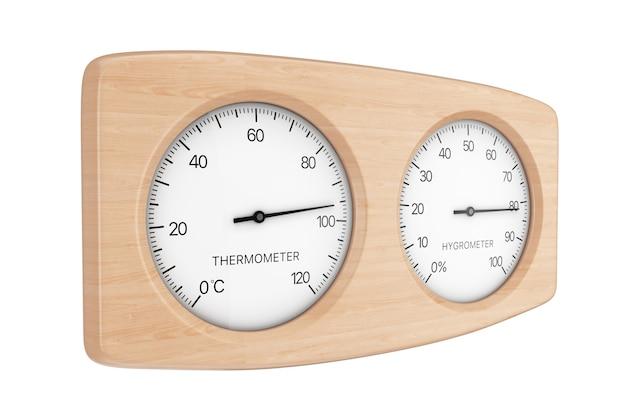 Drewniane urządzenie termometr i higrometr do sauny na białym tle. renderowanie 3d