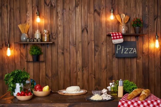 Drewniane wnętrze kuchni