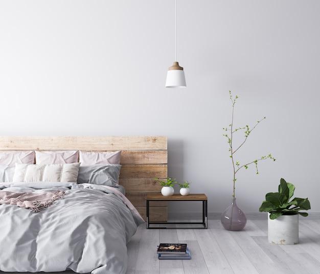 Drewniane wnętrze sypialni w kolorze beżowym i różowym