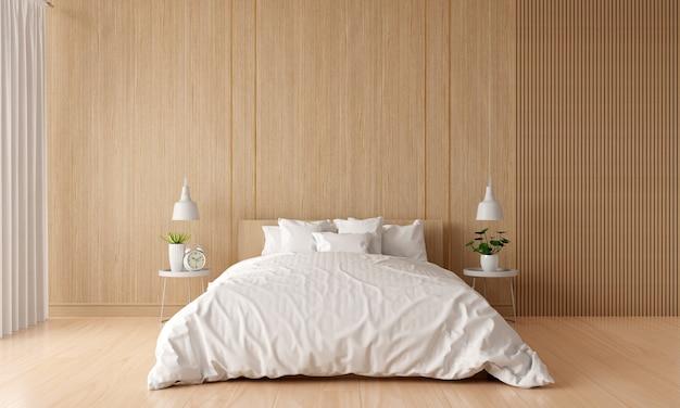 Drewniane wnętrze sypialni z wolną przestrzenią