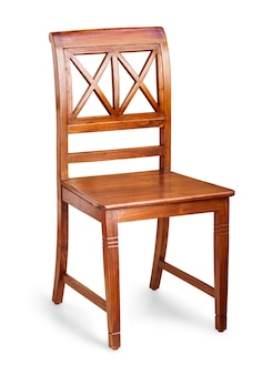 Drewniane wygodne krzesło na białym tle na białym tle ze ścieżką przycinającą