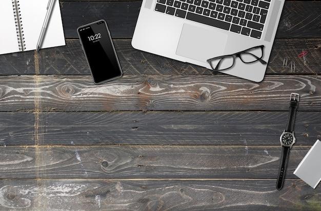 Drewnianego biurowego biurka tła odgórny widok